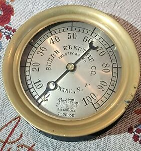 Antique Sundh Electric Co Newark NJ Brass gauge The Ashton Valve Bourdon Mass