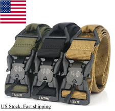 "49x1.5"" TUSHI Men Tactical Belt Quick Release Magnetic Buckle Adjust Belt Thick"