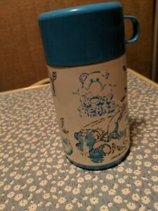 Vintage Blue and White Nosy Bears Thermos with Blue Mug Lid