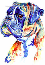 More details for boxer dog art print painting artwork gifts - wall art - poster gift