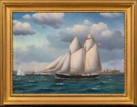 "Large 19th Century Ship ""The Sophie Lutz"" off the Kronborg Castle Jorgen DAHL"