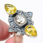Citrine & Rutile Quartz Gemstone Handcrafted 925 Sterling Silver Ring 6.75 K6938
