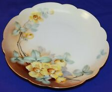 BEAUTIFUL HAND PAINTED CHINA ROSENTHAL PLATE W/ OLD FASHION YELLOW ROSES SIGNED