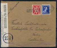 Belgio 1943 Busta 100% Bruxelles Vaduz