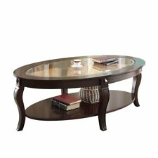 Charmant ACME 00450a Riley Glass Top Oval Coffee Table Walnut Finish