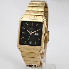 NEW CITIZEN BATTERY QUARTZ WATCH for Men * Gold Tone * White Gift Box * 15D_M26