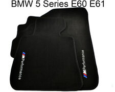 BMW 5 Series E60 E61 Black Carpets With M Performance Emblem 2002-2009 LHD