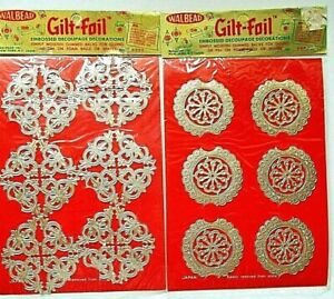 **2**NEW/ OLD STOCK  EMBOSSED DECOUPAGE DECORATIONS= GOLD   # O