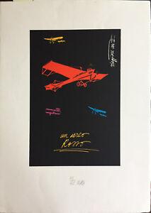 FABIO DE POLI serigrafia un Aereo Rosso  70x50 firmata numerata