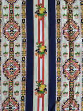 Border Print Cotton Fabric Quilting Floral Stripes 3 yds Red White & Blue