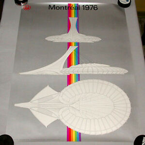 Original Montreal 1976 Summer Olympic Official Stadium  Architecture Poster