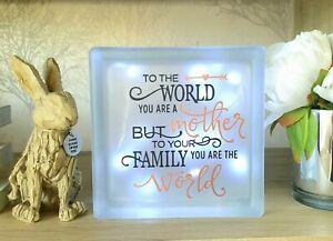 LED Light up Glass  Block lovely gift for Mum for Birthday Mothers Day Christmas