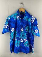 Aisokula Fiji Mens Blue Floral Short Sleeve Hawaiian Button Up Shirt Size Small