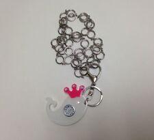 Quartz White / Pink Whale Clock Watch Keychain Necklace Water Resistant