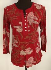 LUCKY BRAND WOMENS FLORAL FESTIVAL TOP RED Sz XS
