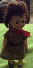 "Vintage Effanbee 1965 Doll wearing Girl Scout Brownie Dress 8"" Missing One Shoe"