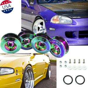 JDM Neo Chrome Quick Release Fasteners Set Car Bumpers Trunk Fender Hatch Lids
