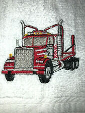 Embroidered Bathroom Hand Towel Big Rig- Trucker Theme Red Truck Hs1531