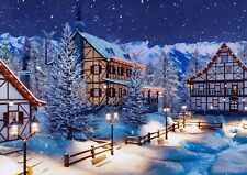 A3| Alpine Mountain Town Poster Size A3 Snow Winter Festive Poster Gift #16516