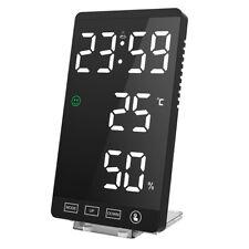Mirror LED Alarm Clock Night Light Thermometer Digital Display With USB Charging