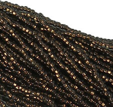 Copper Lined Black Diamond Czech 11/0 Glass Seed Beads 1-6 String Hank Preciosa