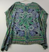 Lilly Pulitzer Women's Short Sleeve Silk Poncho Blouse XS S Multicolor Floral