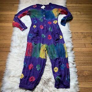 Vintage 70s/80s Tie-Dye Jumpsuit Hippie Festival Harem Romper India Purple NWT
