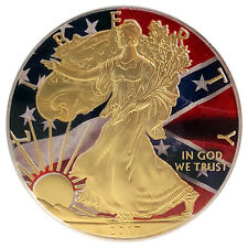 2017 1 OZ OUNCE AMERICAN EAGLE SILVER CONFEDERATE FLAG COLORIZED GILDED COIN