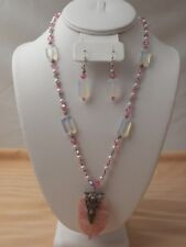 HAND MADE PINK CRAZY AGATE SWAROVSKI CRYSTAL PEARLS STERLING SILVER NECKLACE SET