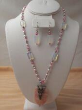 Hand Made Pink Crazy Agate Swarovski Crystal Pearls Sterling Silver Necklace Set