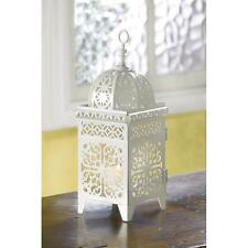 Lot of 5 Soft White Scrollwork Candle Lantern Lamp Wedding Table Centerpiece New
