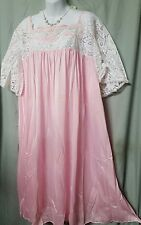 """PINK LACE  ABOVE THE ANKLE LENGTH NIGHTGOWN WOMENS SIZE 4X 68"""" BUST"""