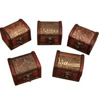 Vintage Jewelry Pearl Necklace Bracelet Storage Wooden Case Gift Box Organizer