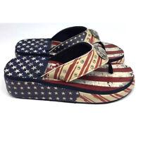 Western Cowgirl Crystal Rhinestone Concho American Flag Patriotic Flip Flops Aztec Medium