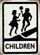 New 15x20cm Children Playing reproduction vintage small metal road warning sign