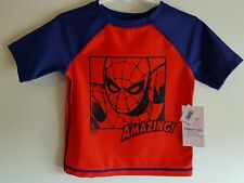 Old Navy Boys 12-18 / 18-24 MONTHS / 2T Swim Shirt SPIDERMAN Rash Guard #107916