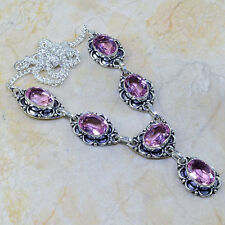 """NEW GORGEOUS GENUINE PINK KUNZITE TOPAZ ORNATE 925 STAMPED SILVER Y NECKLACE 20"""""""