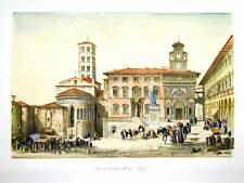 Veduta di Arezzo, Piazza Grande 1845 - Stampa incisa e dipinta a mano cm. 56x38