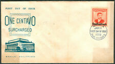 1959 Philippines ONE CENTAVO SURCHARGED First Day Cover