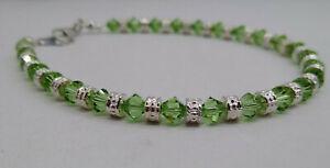 Swarovski Crystal Peridot Bicone & Silver Rondel Bead Anklet/ Bracelet; Handmade