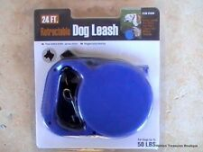 24 Ft. Retractable Dog Leash Spring Loaded For Dogs Up To 50 Lbs Blue