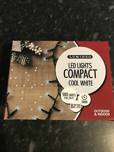 500 Lumineo Compact LED Christmas Lights Cool White With Green Cable
