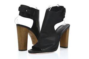 Vince. Addie Women's black leather ankle strap block heel sandals sz. 10 ( 40 )