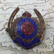 WW2 Royal Engineers RE Horseshoe Good Luck Enamel Sweetheart Brooch