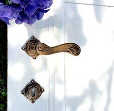 Jugendstil Rosetten-Garnitur für Innentüren, Messing - Türdrücker schön verziert