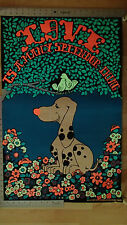 Vintage Love Splendor Thing Black Light Hippie 70s Art Poster Hound Dog Flowers