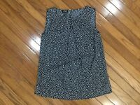 NWT Jones New York Sleeveless BLUE Polka Dot Blouse Top Pleated Neck  Sz S  New