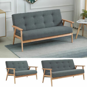 Modern Fabric Upholstery Seat Sofa Tufted 2/3-Seat Couch with Rubberwood Legs