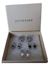 JUDITH RIPKA 925 Hoop Omega Back Earrings 3 Pairs Of Charms Garnet Quartz Pearl