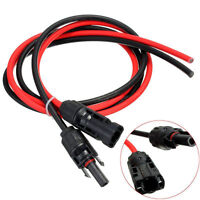 Pair of Solar Panel PV Cable Wire Male & Female MC4 Connectors Red & Black 3.5FT